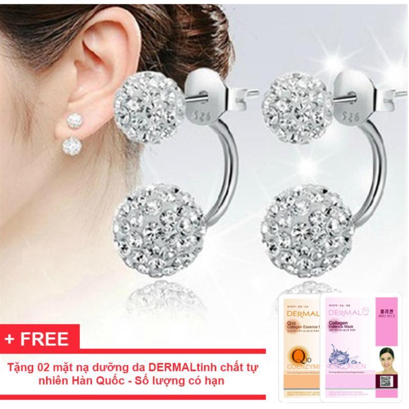 Bông tai hạt châu chữ U thời trang Hàn Quốc bạc S925