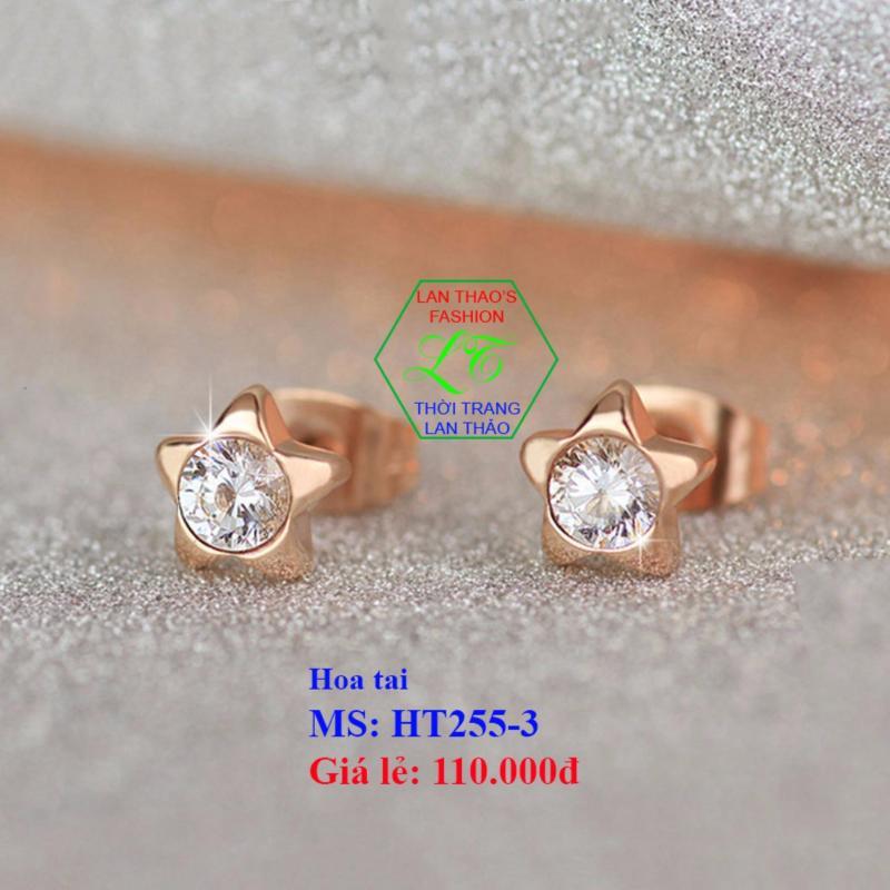 Bông tai Titan ngôi sao đính hạt xoàn cao cấp HT255   Trang sức hoa tai nữ Lazada