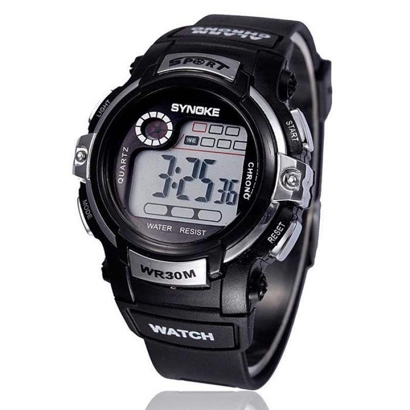 Nơi bán Boy Digital LED Quartz Alarm Date Sports Waterproof Wrist Watch Silver - intl
