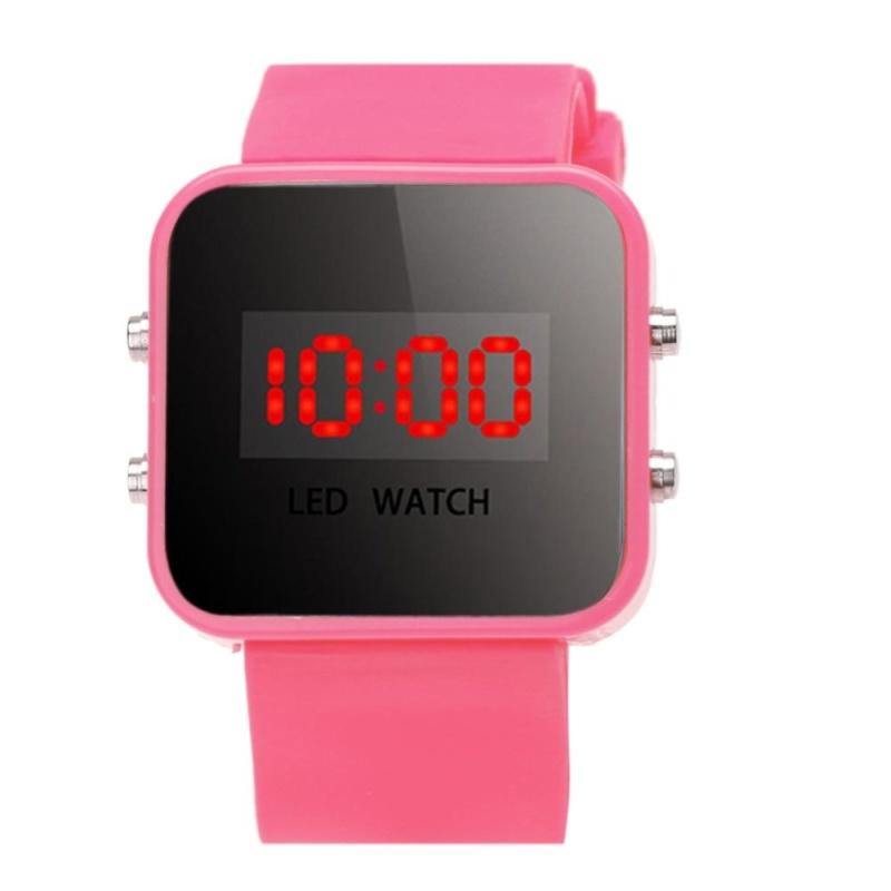 Boy Girls Silicone Led Digital Watches Sport Clock Watch (Pink) - intl bán chạy