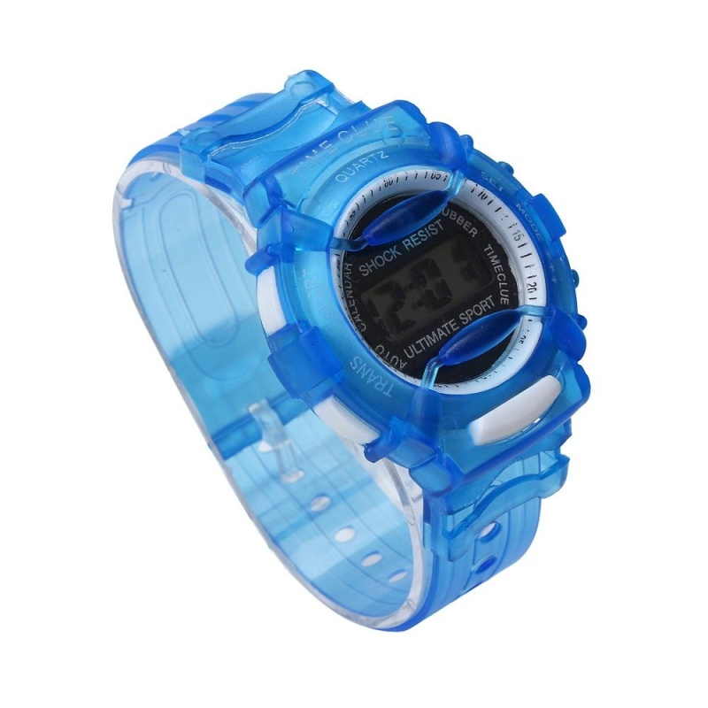 Boys Girls Children Students Waterproof Digital Wrist Sport Watch Blue - intl bán chạy