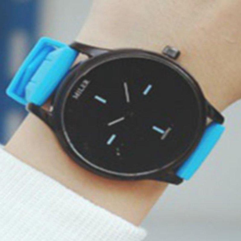 Boys Girls Simple Wristwatch Big Round Dial Silicone Band Quartz Casual Watch – Blue - intl bán chạy