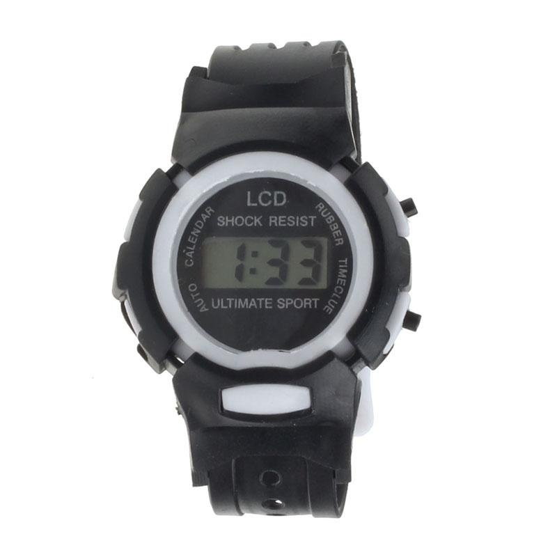 Boys Girls Student Time Sport Electronic Digital LCD Wrist Watch Black - intl bán chạy