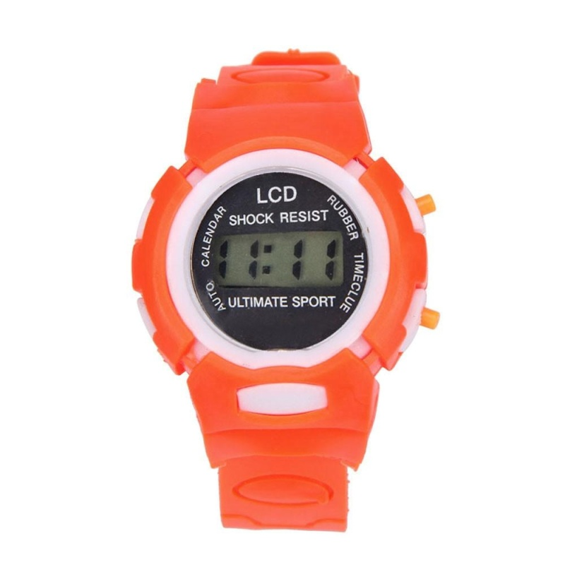 Boys Girls Student Time Sport Electronic Digital LCD Wrist Watch Orange - intl bán chạy