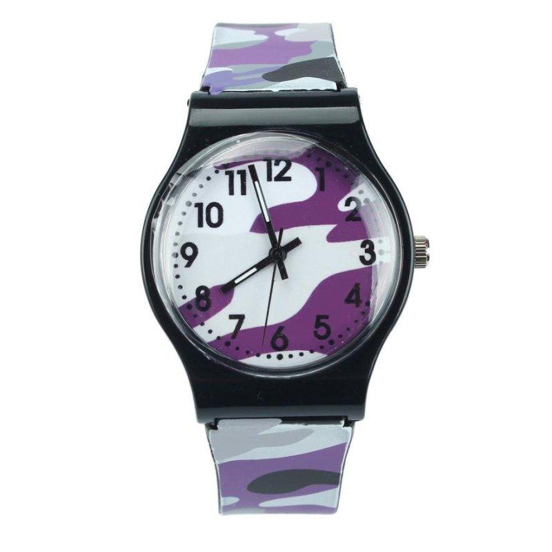 Camouflage Children Watch Quartz Wristwatch For Girls Boy(purple) - intl bán chạy
