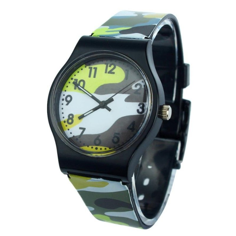 Camouflage Children Watch Quartz Wristwatch For Girls Boy(yellow) - intl bán chạy
