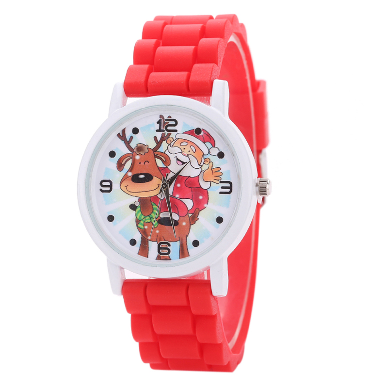 Christmas Santa Claus Pattern Kids Quartz Silicone Wristwatch (Red) - intl bán chạy