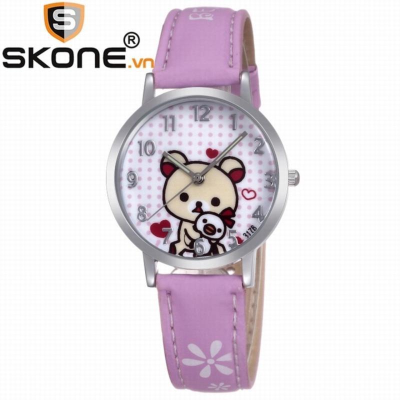 Combo 02 đồng hồ bé gái SKONE - dây da 3176-4 bán chạy