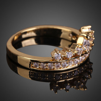 Delicate 18K Gold Plated Rhinestone Crown Ring(Intl)