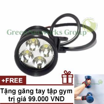 Đèn pha led trợ sáng xe máy phượt L4 GNG + Tặng găng tay tập gym