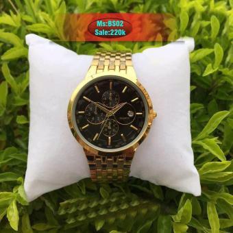 Tư vấn mua Đồng hồ baisung nam dây kim loại mạ vàng cao cấp kết hợp mặt đen cực chất