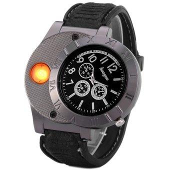 Đồng hồ bật lửa sạc USB 139 Fashion (Đen)