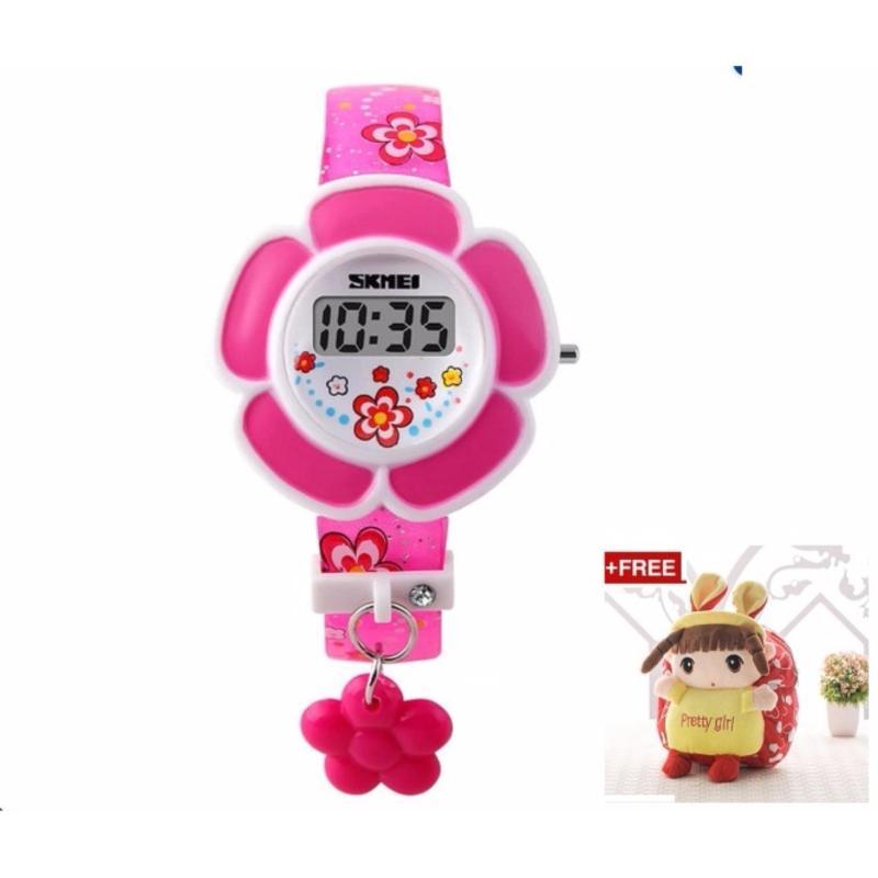 Đồng hồ bé gái dây nhựa Skmei 1144 ( hồng) + tặng kèm balo công chúa cho bé bán chạy