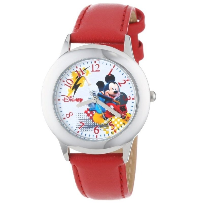 Đồng hồ bé trai dây da Disney Kids' Tween Mickey Watch with Red Faux Leather Strap (Đỏ) bán chạy
