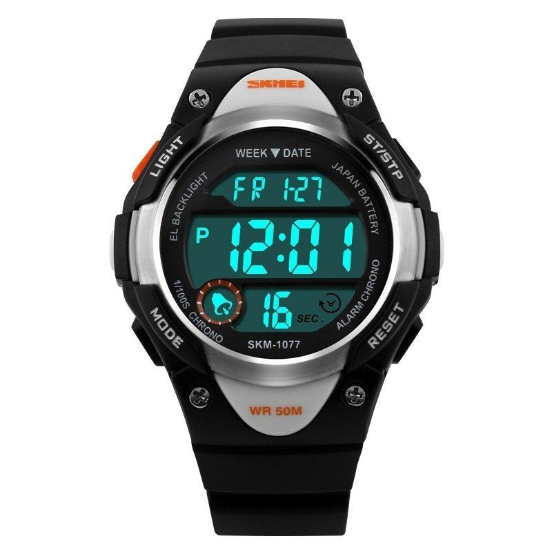 Đồng hồ bé trai dây nhựa LED Skmei 1077 (Đen) bán chạy