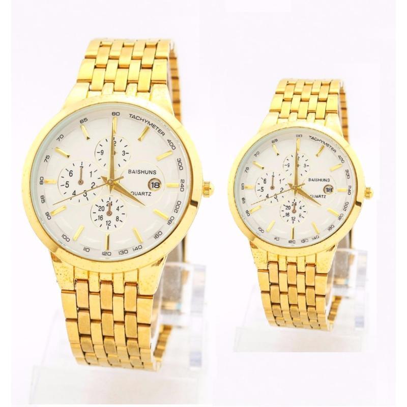 Nơi bán Đồng hồ cặp nam nữ dây thép mạ vàng Baishuns CPW001