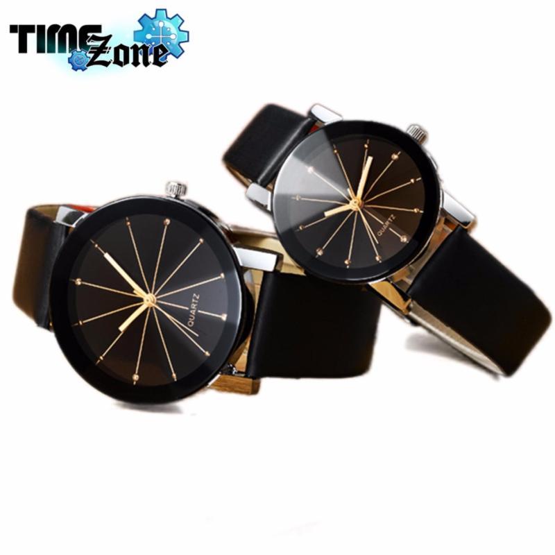 Nơi bán Đồng hồ cặp TimeZone mặt đá Thạch Anh dây da (Mặt Đen, Dây Đen)