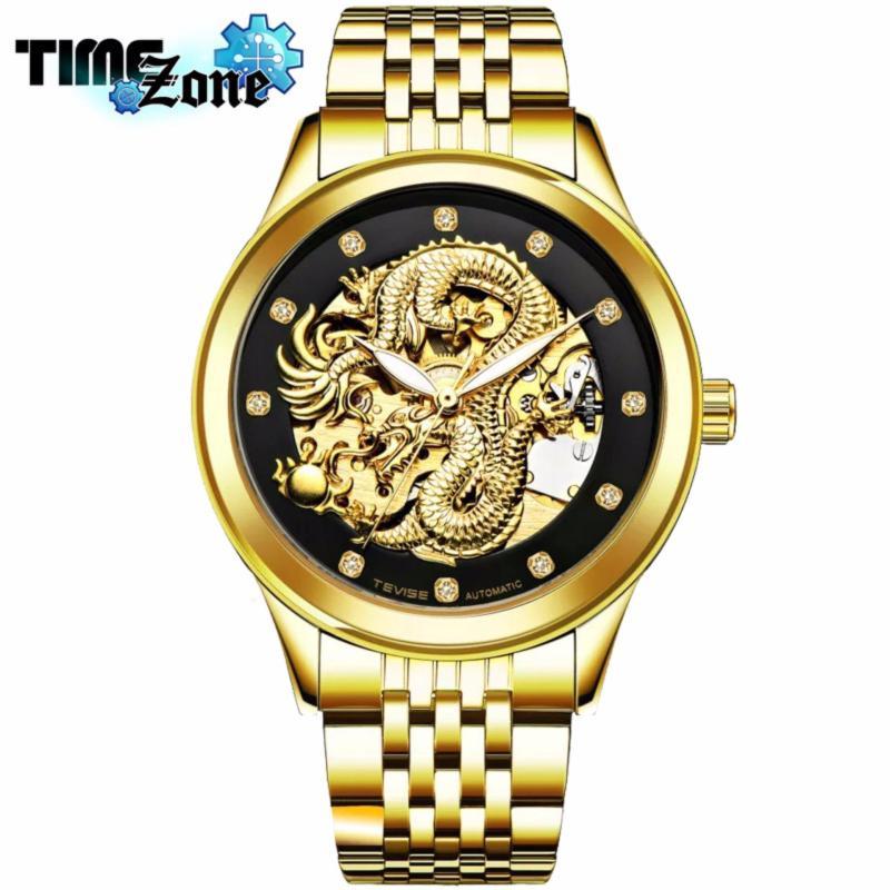 Nơi bán Đồng hồ chạy cơ Automatic nam dây thép TimeZone thương hiệu TEVISE Mặt Rồng Vàng (Dây Vàng, Mặt Đen Hình Rồng Vàng)