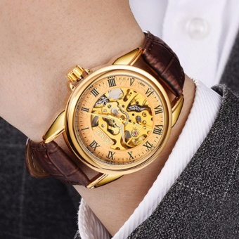 Đồng hồ cơ lộ máy dây da cao cấp sang trọng đẳng cấp Bosck Man F224 (Vàng-Nâu)