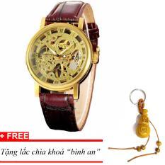 Đồng hồ cơ nam dây da lộ máy WINNER MDH-WN1373 (Nâu), tặng lắc chìa khoá gỗ Bình An