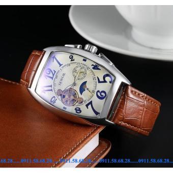 Đồng hồ Cơ Nam dây da SEWOR cổ điển chạy 5 kim SWV001A