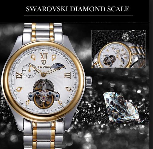 Đồng hồ cơ nam dây thép không gỉ Tevise 8031 kính sapphire (Vàng trắng)