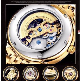 Đồng hồ cơ rồng vàng nam dây inox đặc Tevise 1007 - 2