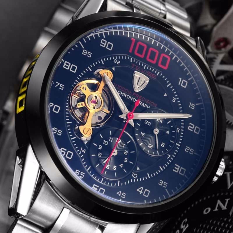Nơi bán Đồng hồ cơ Tevise 1000 dây đúc lộ máy (Đen)