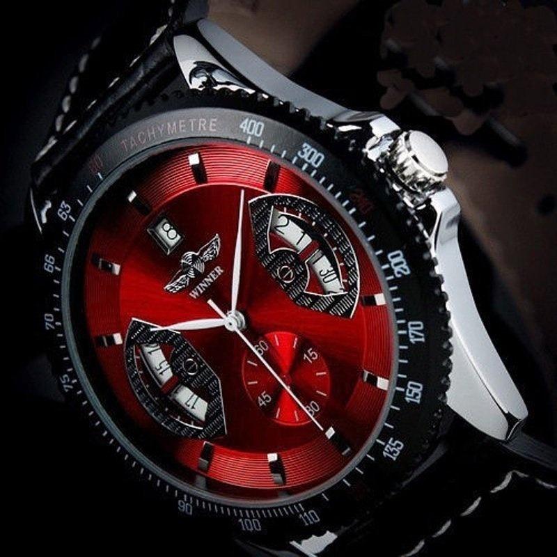 Nơi bán YBC Men Sports Leather Automatic Mechanical Analog Wrist Watch Black - intl