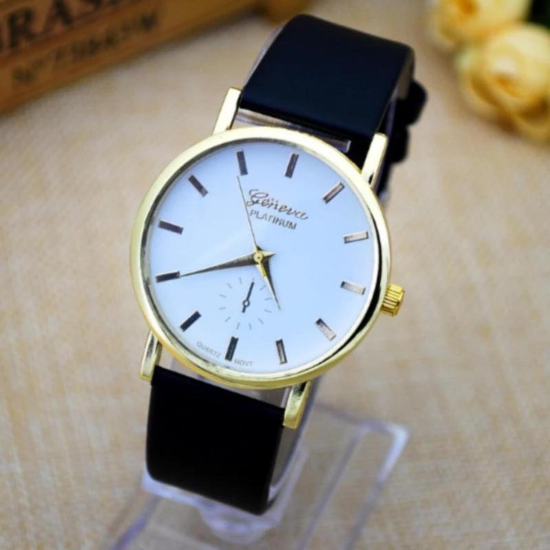 Nơi bán Đồng hồ dây da đen mặt trắng hong kong PGH-217