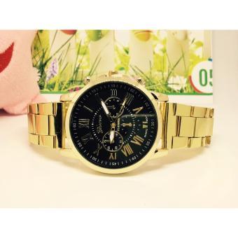 Đồng hồ dây kim loại Geneva (mặt đen)