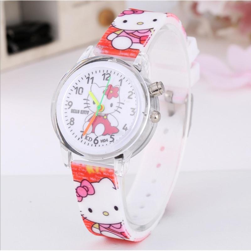 Đồng hồ đeo tay có đèn led cho bé gái hình mèo Kitty tuyệt đẹp bán chạy