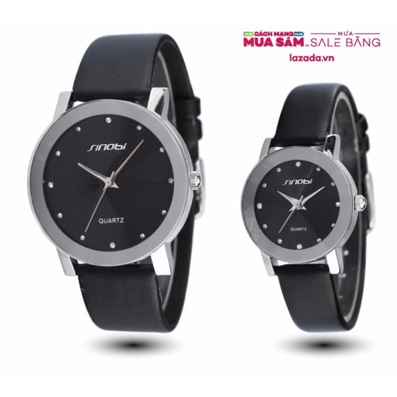 """Nơi bán Đồng hồ đôi """"tình nhân"""" cho nam và nữ dây da mặt 3D SINOBI (Đen) - tặng vòng tay tỳ hưu đen"""