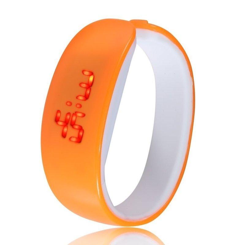 Nơi bán Đồng hồ LED dây nhựa silicon kiểu Vòng tay (Cam)