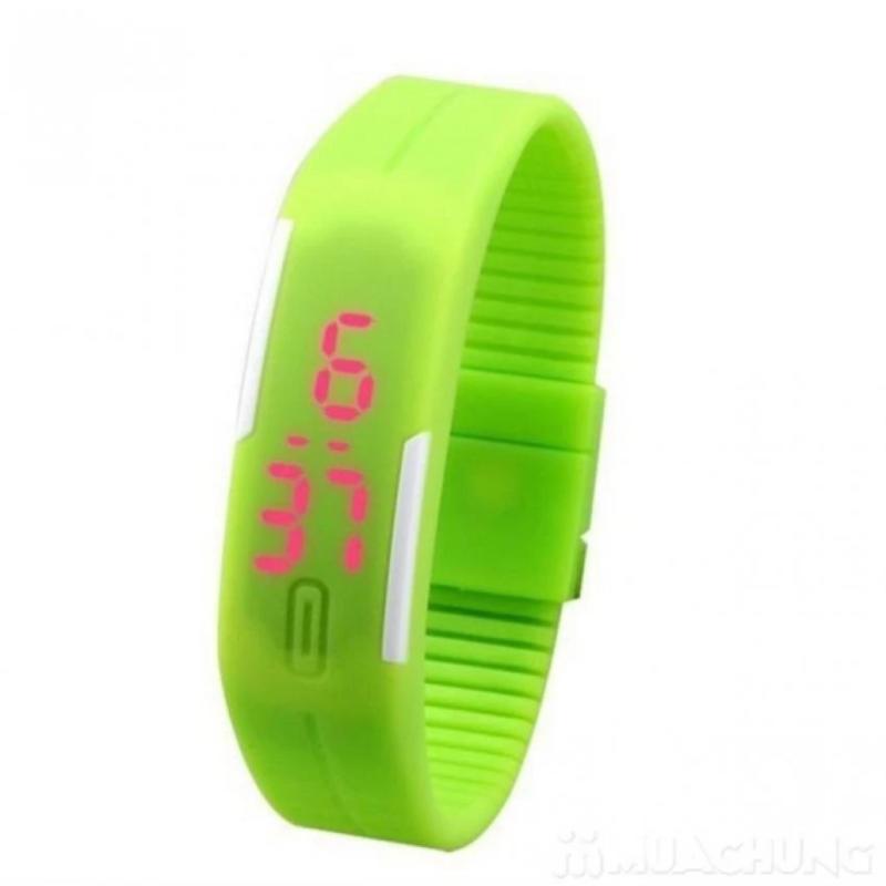 Đồng hồ LED dây silicon kiêm vòng tay (xanh lá) bán chạy