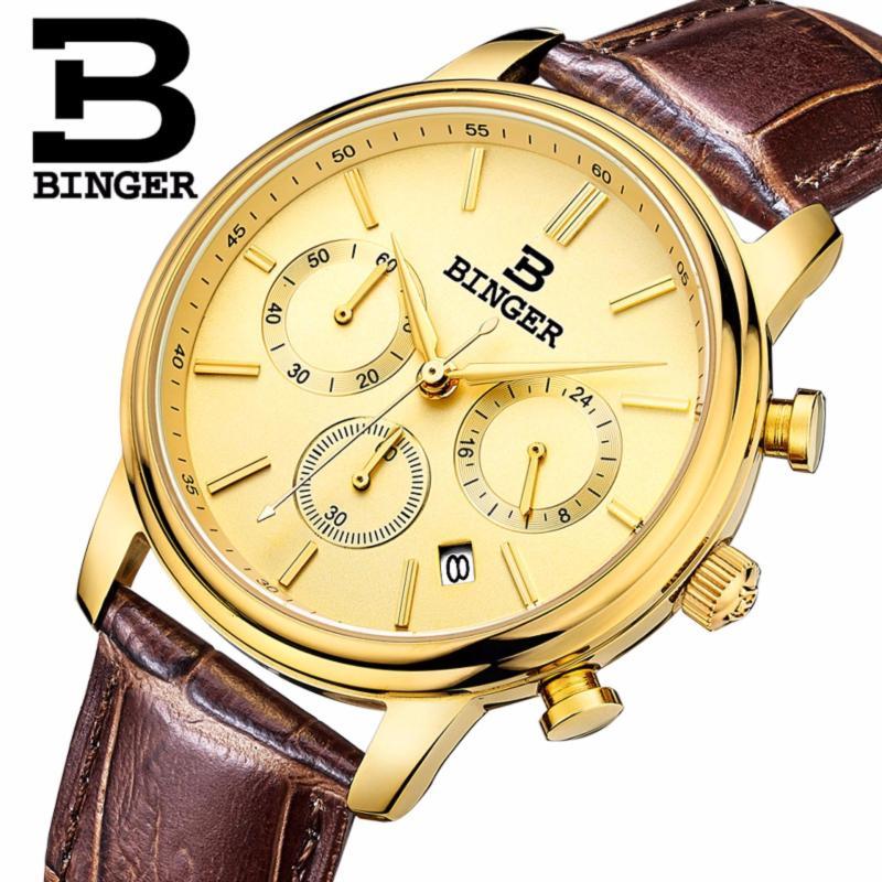 Nơi bán Đồng hồ nam chronograph thương hiệu nổi tiếng Thụy Sĩ Binger chống thấm nước lịch ngày kính phản quang(Dây da Nâu)