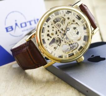 Đồng hồ nam cơ lộ máy dây da cao cấp SEWOR 4784 (Vàng)