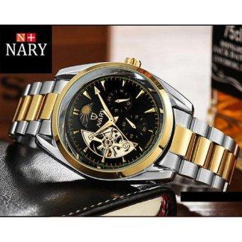 Chỗ nào bán Đồng hồ nam cơ tự động 5 kim dây thép không gỉ cao cấp Nary IDW 5583 (Mặt đen kim vàng)