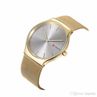 Đồng hồ nam CURREN 2 kim dây kim loại thép không gỉ mầu vàng - M8256 cao cấp - 4