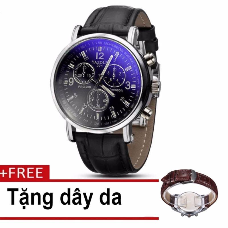 Nơi bán Đồng hồ nam dây da 9070 YZ271C0102G mặt đen dây đen (tặng dây da Skmei)