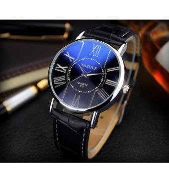 Đồng hồ nam dây da cao cấp Yazole 9501 (Dây đen mặt xanh)