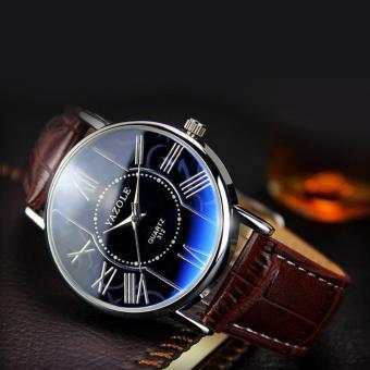 Đồng hồ nam dây da cao cấp Yazole 9502 (Dây nâu mặt xanh)