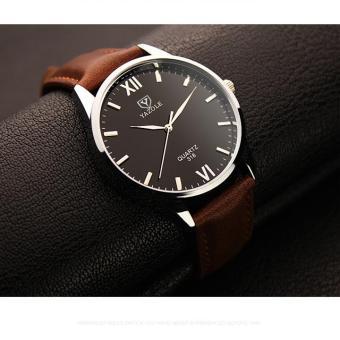 Đồng hồ nam dây da cao cấp Yazole 9512 (Dây nâu mặt xanh)
