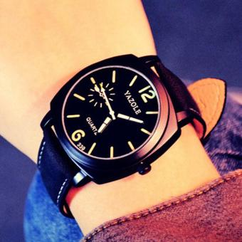 Đồng hồ nam dây da cao cấp Yazole IDW 9521 (Dây đen mặt đen)