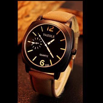 Đồng hồ nam dây da cao cấp Yazole IDW 9522 (Dây nâu mặt đen)