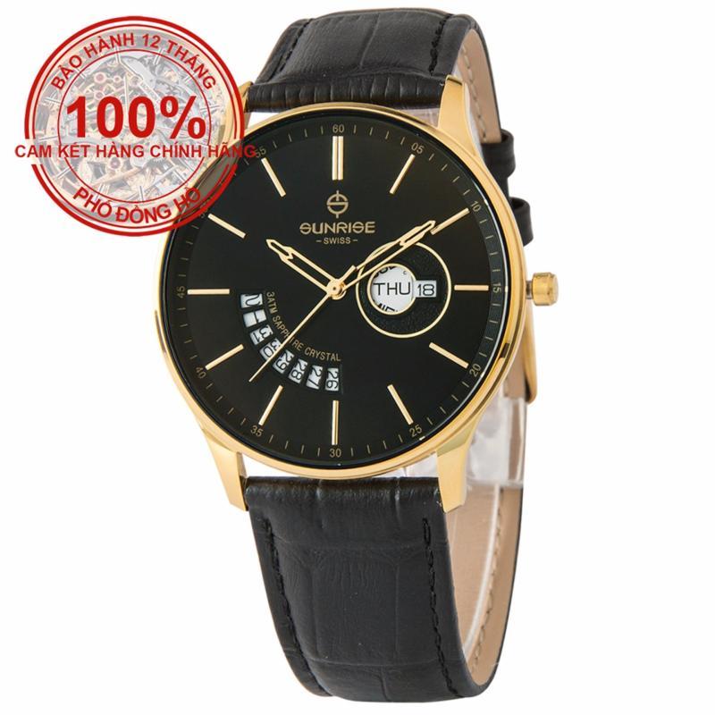 Nơi bán Đồng hồ nam dây da mặt kính sapphire chống xước Sunrise DM1127MK-GL D