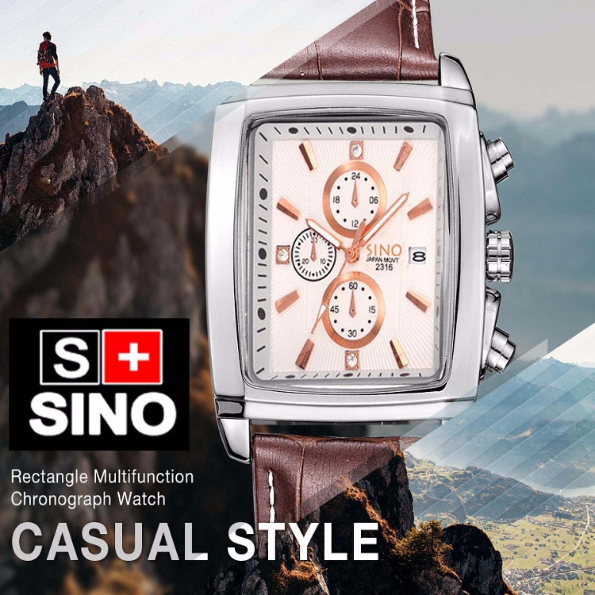 Đồng hồ nam dây da mặt vuông Sino Japan Movt S2316 dây nâu mặt trắng