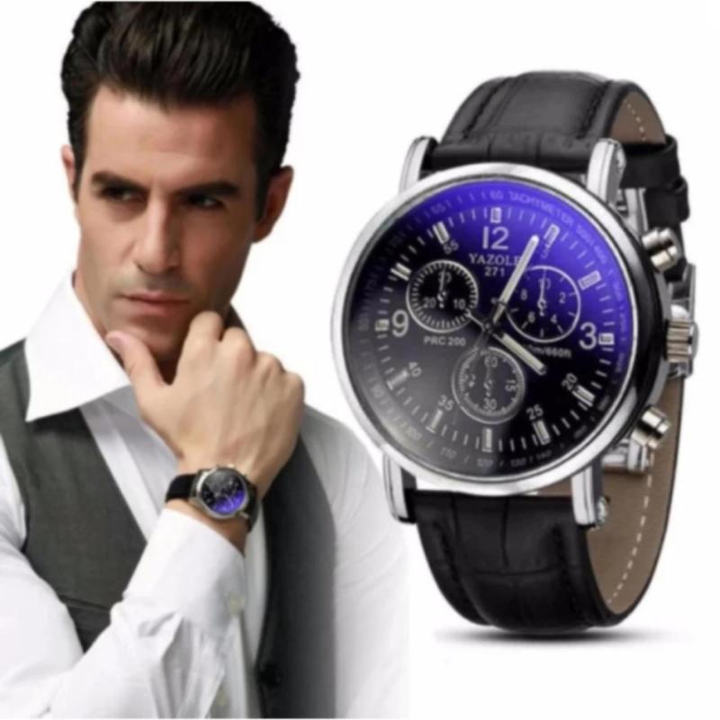 Nơi bán Đồng hồ nam dây da mới (dây đen mặt xanh )