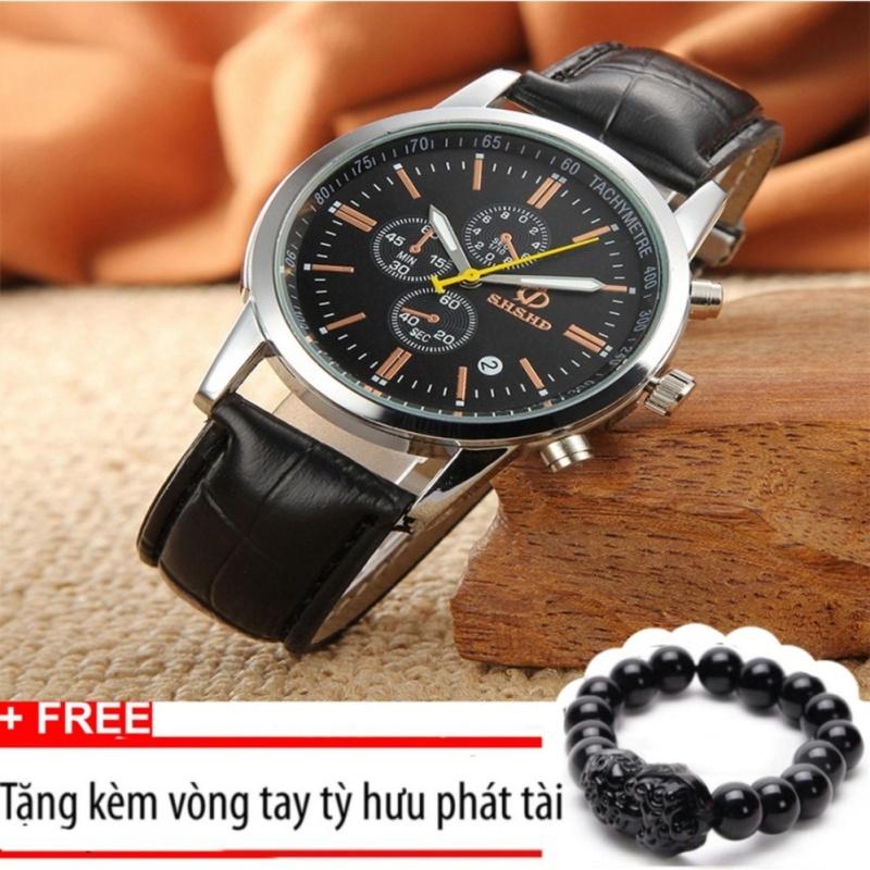 Nơi bán Đồng hồ nam dây da SHSHD dây đen mặt đen+Tặng kèm vòng tay tỳ hưu phát tài