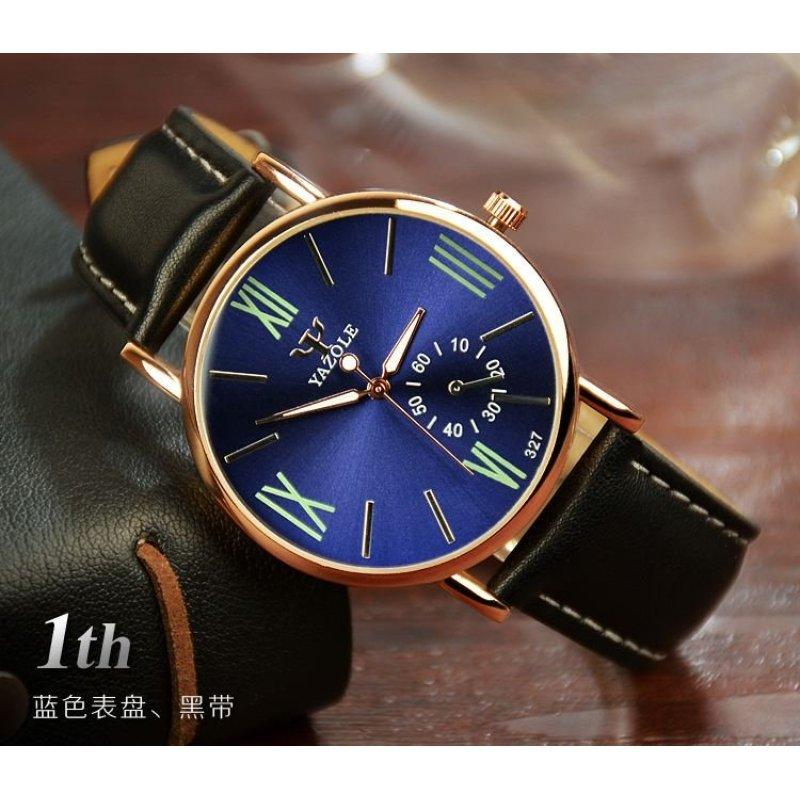 Nơi bán Đồng hồ nam dây da tổng hợp Yazole YA001-3 (Đen mặt ngà)